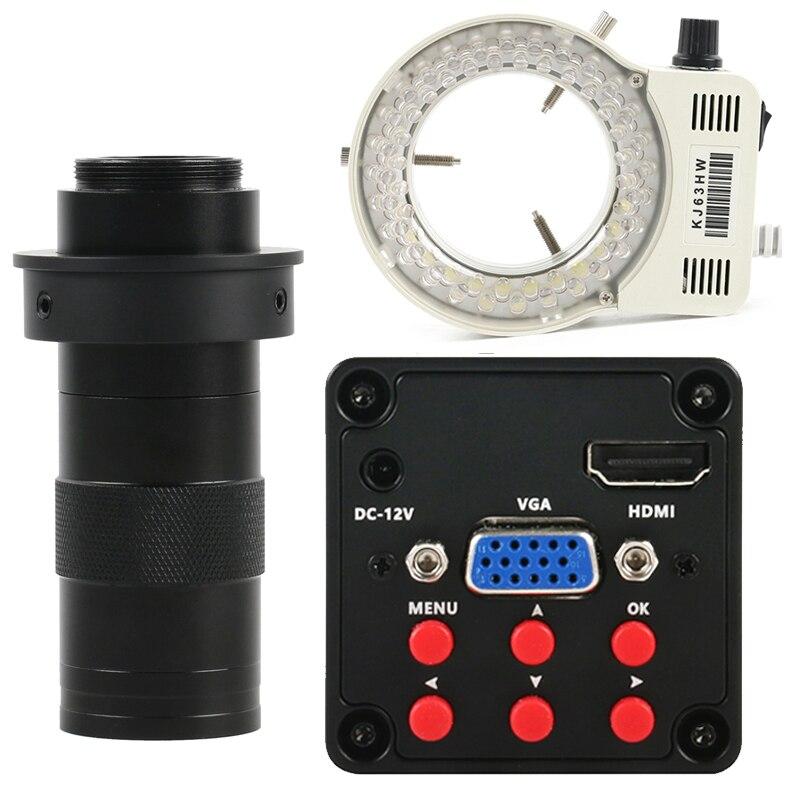 Industrial IMX307 Sensor 1080P HDMI VGA Video Microscope Camera + 130X Adjustable Zoom C Mount Lens + 56 LED Ring Light