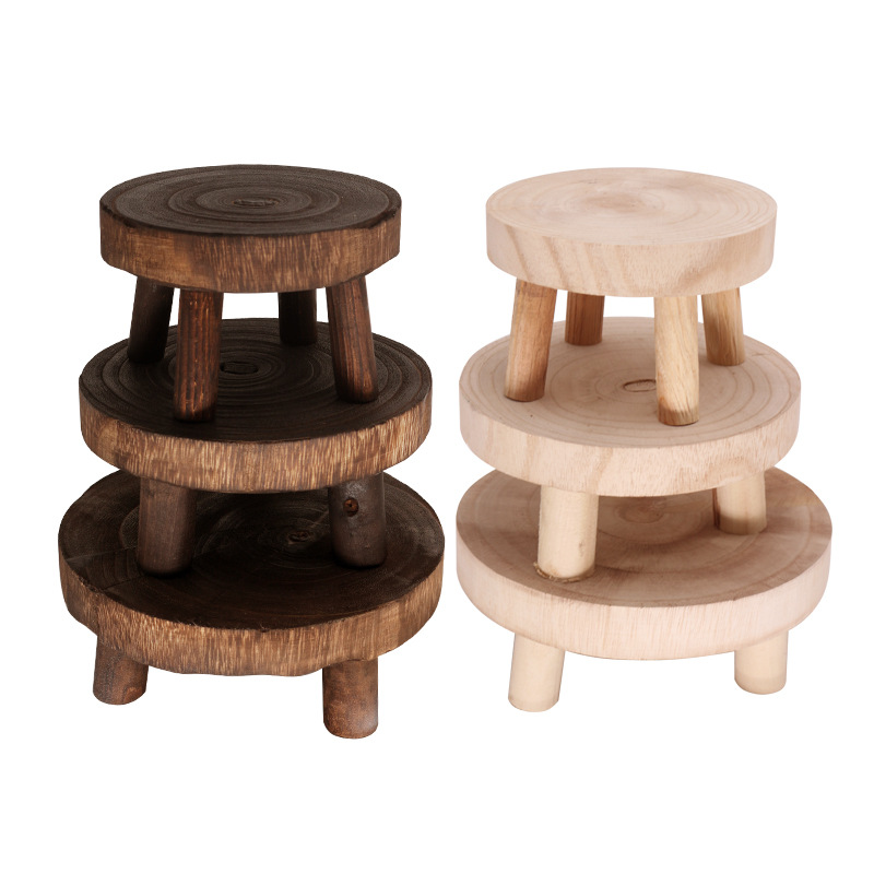 Solid Wood Round Bench Flower Pot Base Holder Shelf Plant and Succulent Flower Display Stand Stool Home Garden Patio Decor