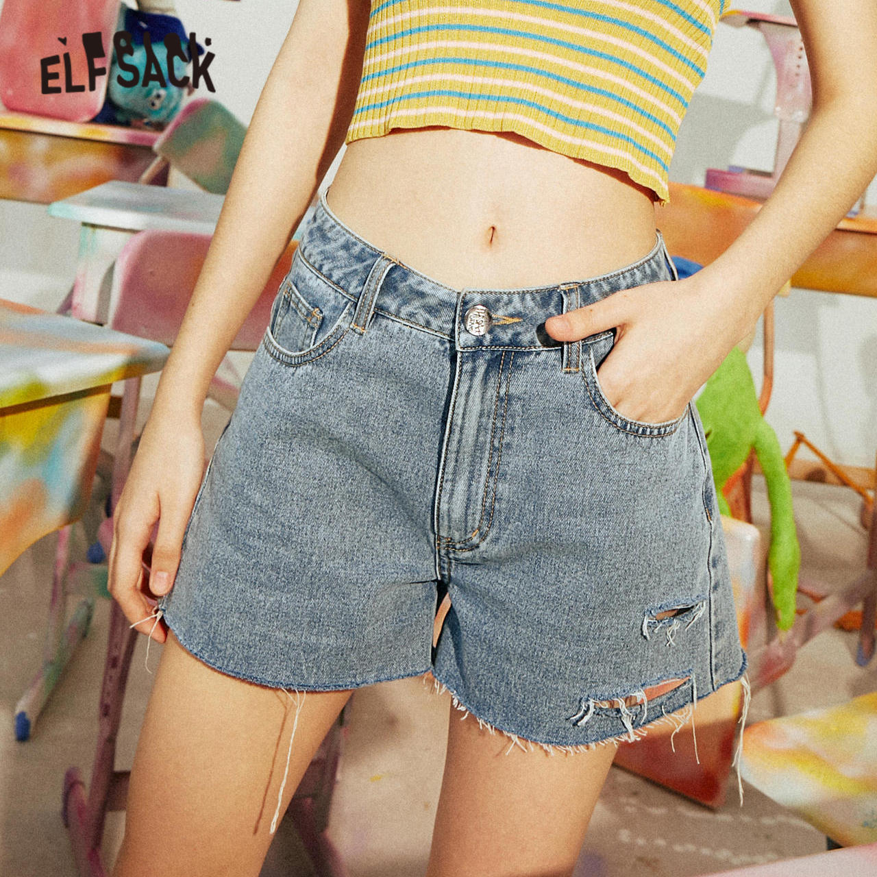 ELFSACK Blue Solid Letter Print Raw Hem Women Denim Shorts 2020 Summer ELF New Ripped Hole Washed Korean Ladies Daily Bottoms