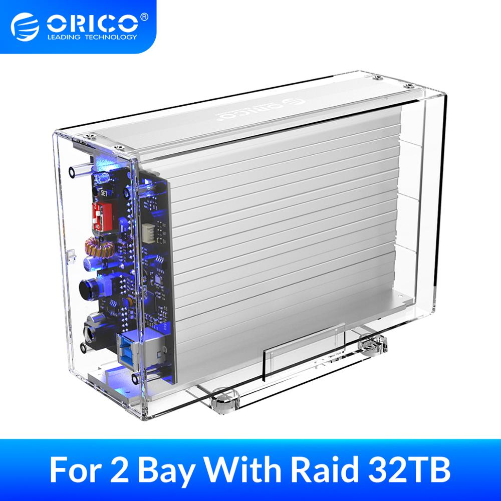 ORICO 2 Bay USB 3.0 to SATA External Hard Drive Enclosure With Raid Function Support 32TB 3.5 inch Transparent HDD SSD Enclosure