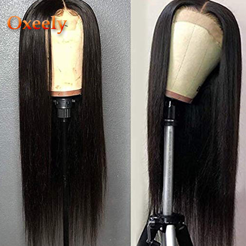 Oxeely Lace Front Wigs Long Straight Synthetic Wigs For Black Women Heat Resistant Fiber Hair Black Color Wigs With Baby Hair