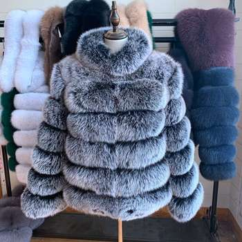 NEW Black frost color Real Fox Fur Coat For Women With Stand Collar Thick Warm Winter Genuine Fox Fur Jacket High Quality Fur