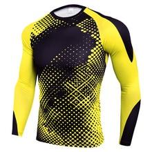 Обтягивающие с длинным рукавом мужские быстросохнущие футболки для тренажерного зала, мужская спортивная футболка для фитнеса, Рашгард для тренажерного зала, тренировок, трико для мужчин