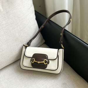 Horsebit Underarm Saddle Bag Fashion Shoulder Messenger Bag Retro Bag Women 2020 New Middle Age Bag Luxury Bag CN(Origin)