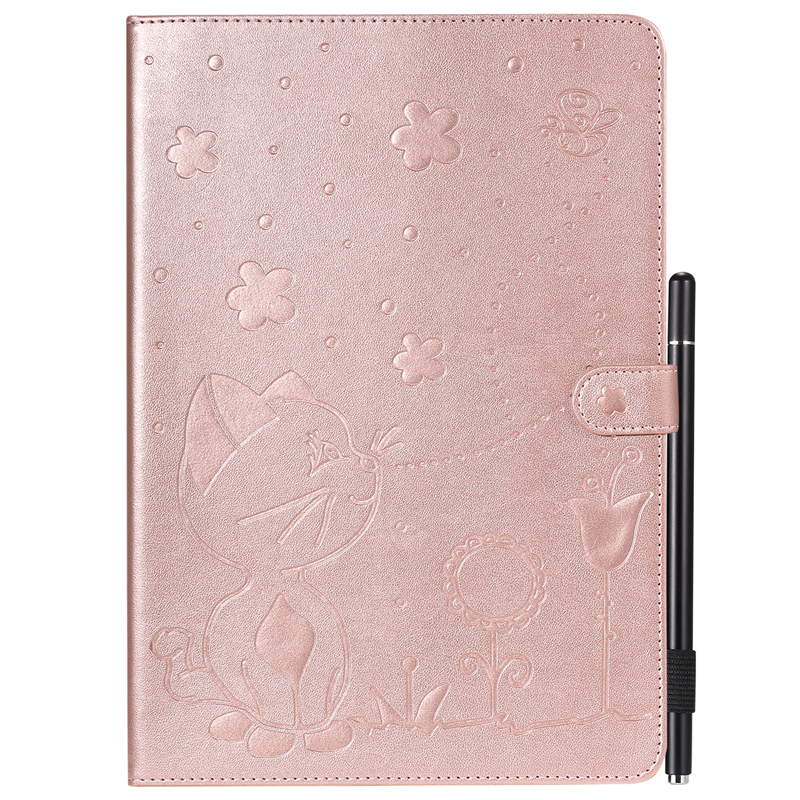 Rose Gold Gray For Apple iPad 10 2 inch 2019 Case Cartoon Cat Embossing Leather Cover For iPad 10