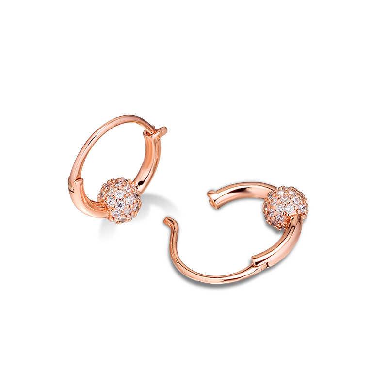 CKK ต่างหู Rose Pave ต่างหูลูกปัดเงินเครื่องประดับ 100% สำหรับผู้หญิง Brincos kolczyki Pendientes accesorios mujer
