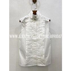 Женский Белый Топ без рукавов, летняя повседневная рубашка, 100% хлопок, плиссированная женская рубашка, изысканная темпераментная рубашка б...