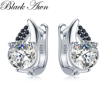 Black Awn 2020 Classic 925 Sterling Silver Round Black Trendy Spinel Engagement Hoop Earrings for Women Fine Jewelry Bijoux I131 [black awn] wedding stud earrings for women genuine 925 sterling silver jewelry black spinel stone boucle d oreille brincos t038