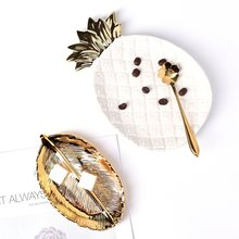 Nordic Gold Ceramic Pineapple Vanity Tray Trinket Dish Jewelry Bathroom Kitchen Organier Women Gift Home Decoration Accessories(China)
