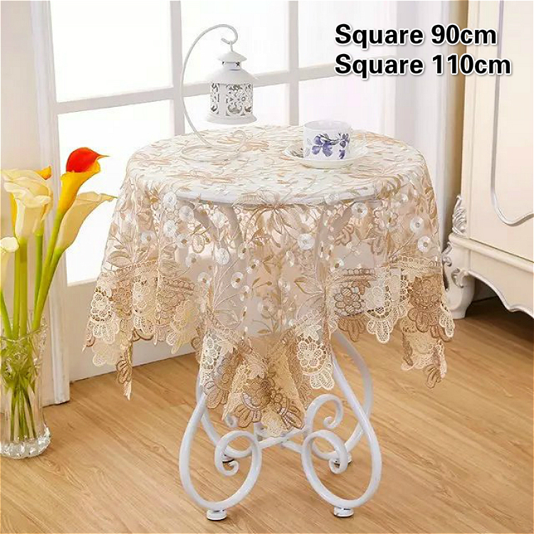 Modern Rural Style Mesh Embroidery Water Soluble Lace Tablecloth Small Balcony Coffee Table Mat Furniture Electrical Dust Cloth