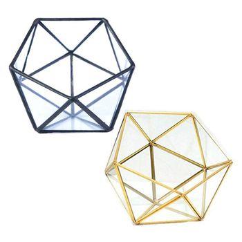 Szklane szklane Terrarium schowek stojak na biżuterię, szklane geometryczne Terrarium Tabletop sukulenta Box sadzarka Holder/Gold