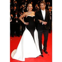 Celebrity-Dresses Blake Lively Carpet Evening-Gowns Satin-Train Black Formal Red White