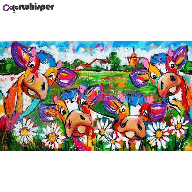 Pintura diamante Praça Cheia/Rodada Broca Daimond 5D Vacas de Leite Pintura Colorida Fazenda Mosaico Bordado Ponto Cruz Pic 407DP