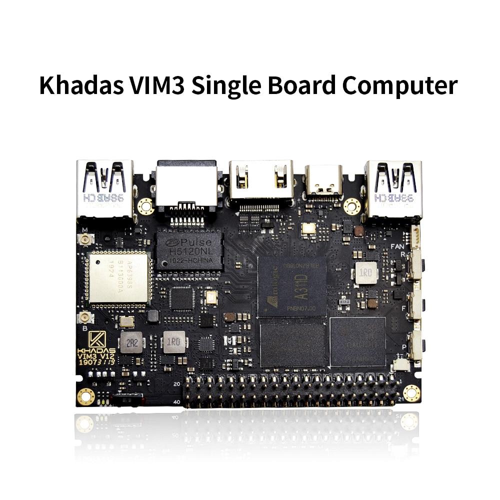 khadas vim3 sbc Amlogic A311D SoC support Linux Ubuntu Debian Android with 5.0 TOPS NPU Single Board Computer
