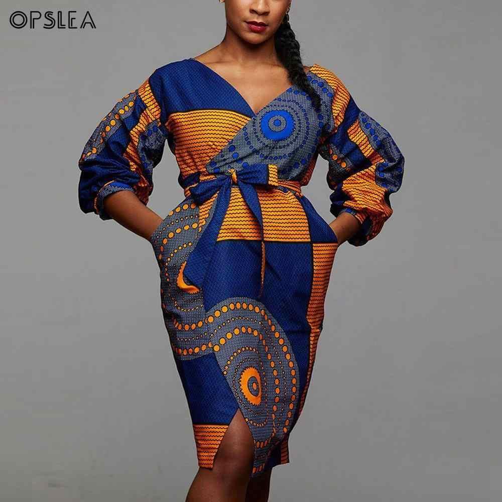 Opslea Africano Donna fashion Sexy Con Scollo A V Del Manicotto Della Lanterna Vestito Dalla Stampa Dashiki Autunno New African Nazionale del Vestito Dalla Vita Sottile