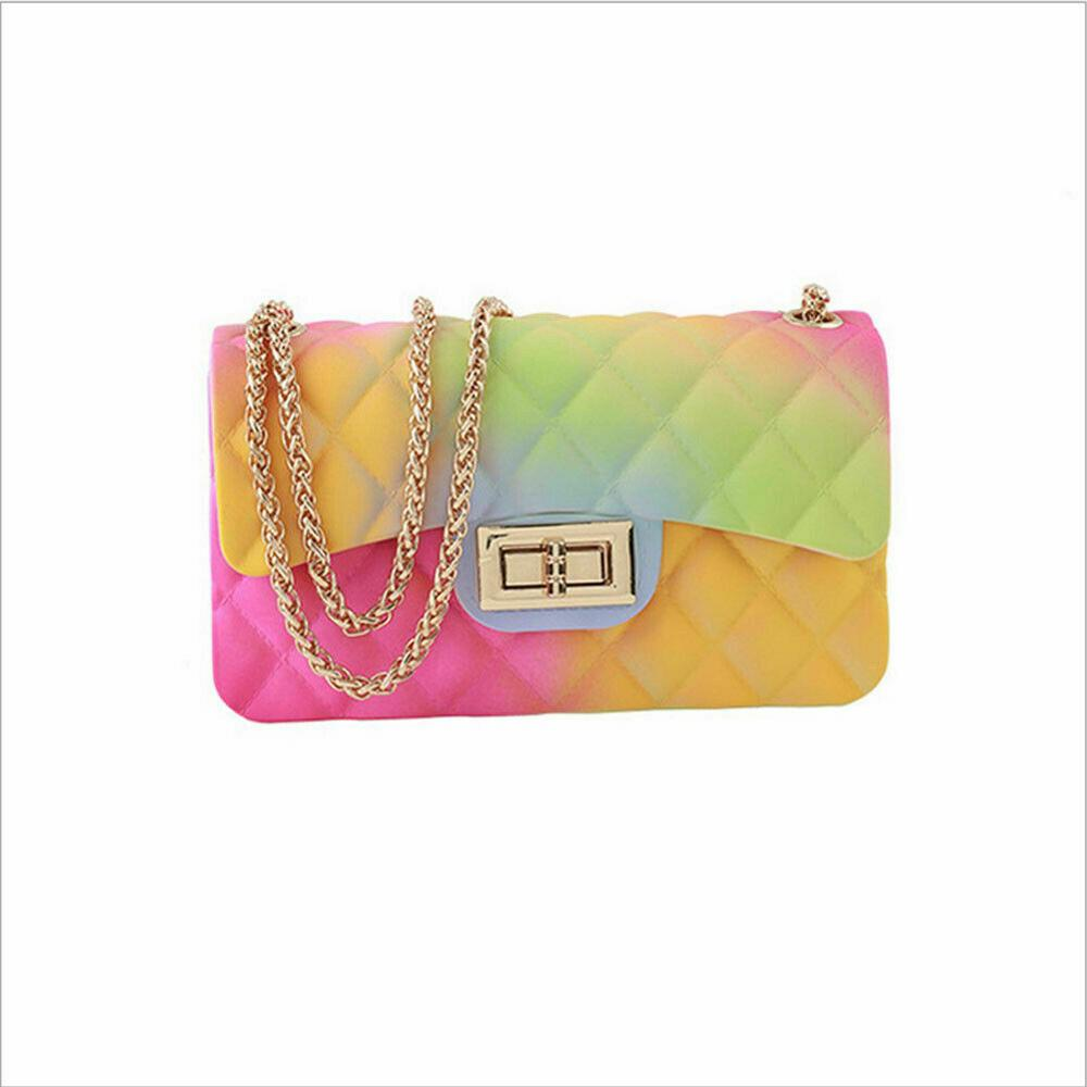 Women's Fashion Rainbow PVC Bag Shoulder Bag Crossbody Handbag Jelly Chain Bag Crossbody Shoulder Bag Small Handbags