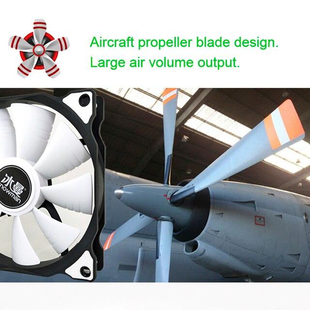 SNOWMAN PWM 4 Pin 120mm Computer Case Fan Silent 12CM Fan CPU Cooling RGB Quiet PC Cooler Fan Case Fans 12V DC Adjust Fan Speed 2