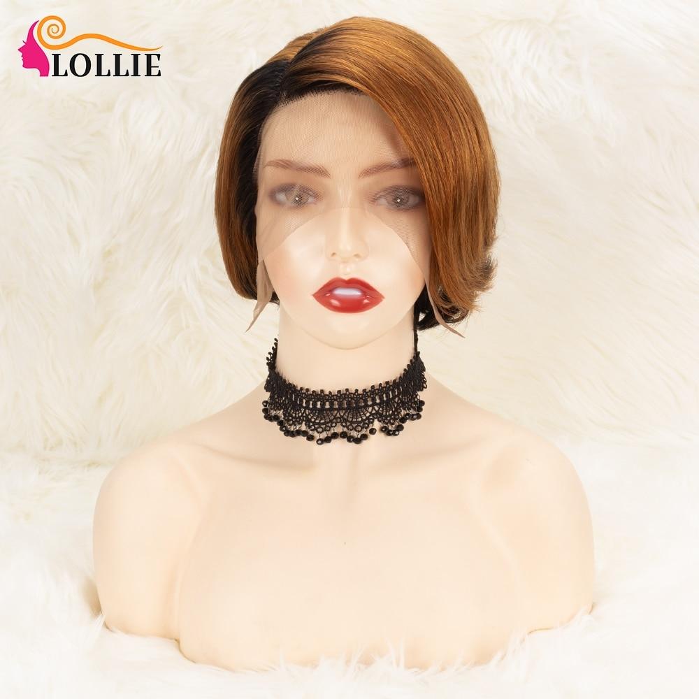 Parte do laço perucas curtas pixie corte