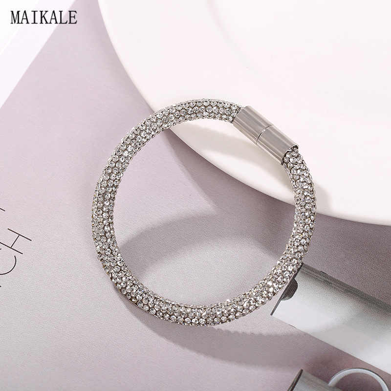 MAIKALE Austrian Crystal Cuff Bracelet Rhinestone Bangles Shiny Silver Magnet Buckle Bracelets for Women Fashion Jewelry Gifts