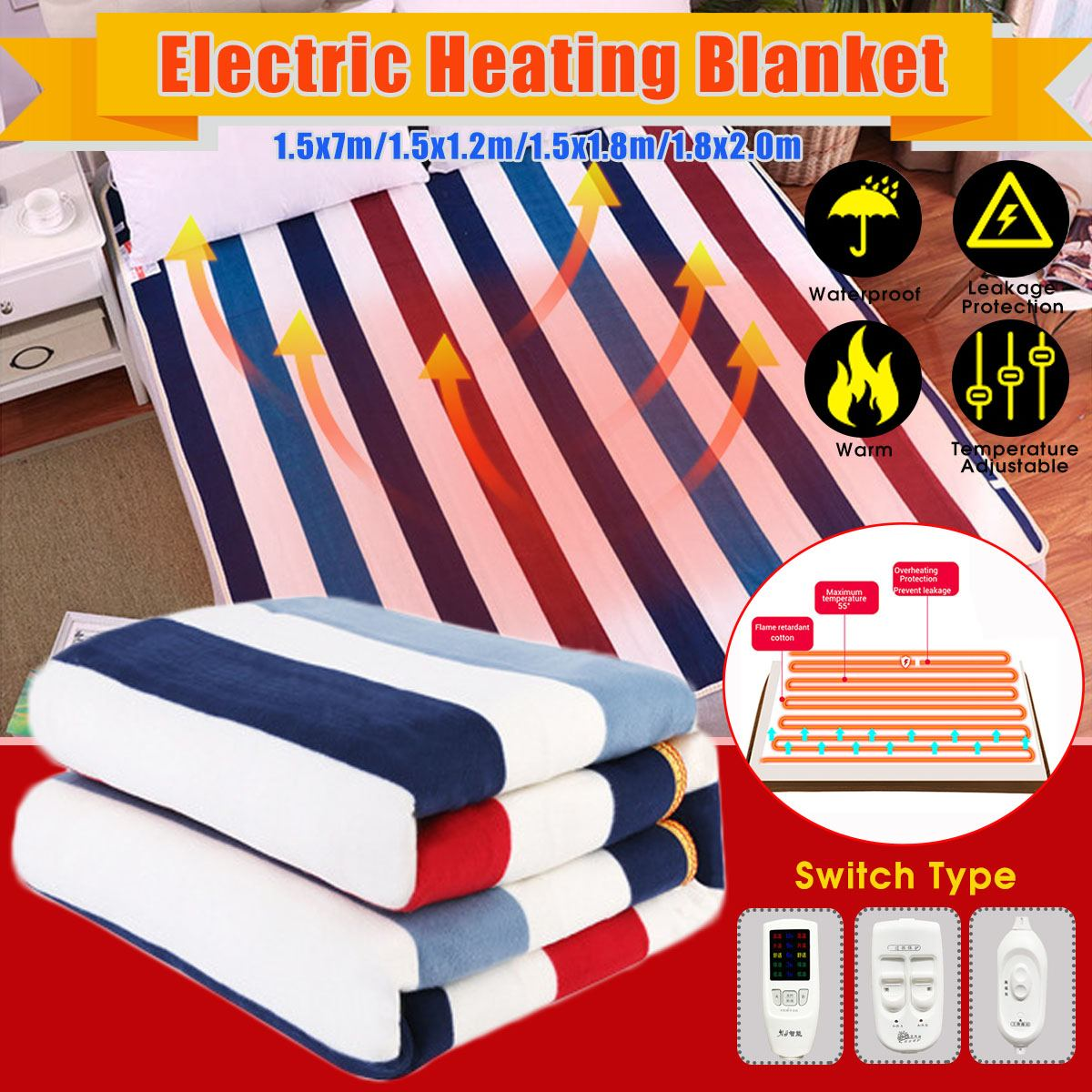 1.5m/1.8m/2m Electric Blanket 220V Waterproof Flannel Heating Blanket Winter Warm Double Bed Striped Style Heated Mattress
