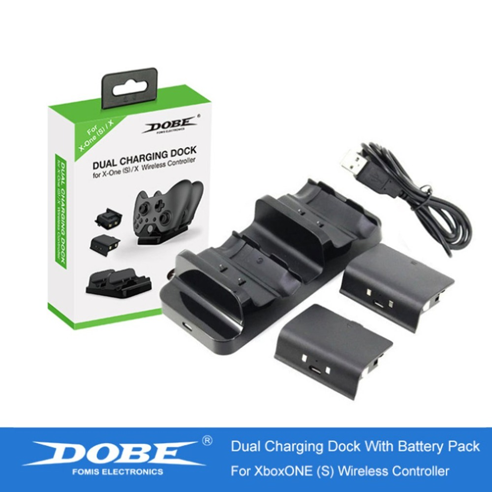 Dual Charging Dock Controller Charger + 2pcs Rechargeable Batteries For XBOX ONE Rechargeable Battery Stander