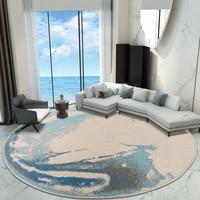 Blue Ocean Round Carpet Livingroom Home Bedroom Round Rug Thick Computer Chair Floor Mat Cloakroom Modern Area Rugs Sofa Carpets