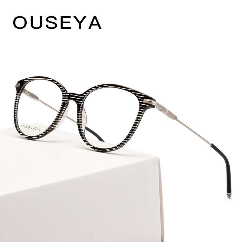 Acetate Glasses Frames Women Vintage Fashion Clear Myopia Hyperopia Optical Prescription Eyewear #HT1008