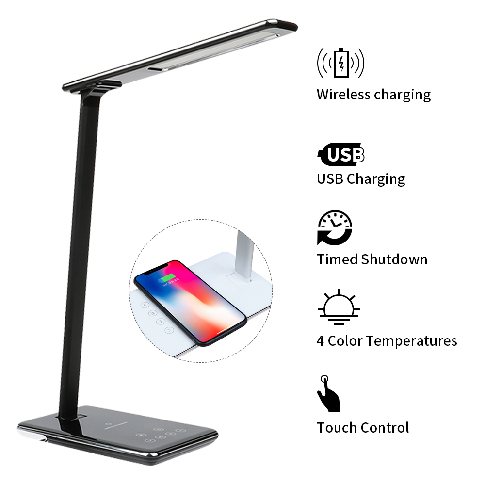 Creative Eye Protection LED Table Desk Lamp 2 in 1 QI Wireless Charger Pad  Reading Light For Mobile Phone