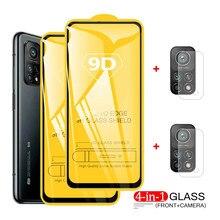 4-in-1 9D temperli cam ekran koruyucuları için Xiaomi Mi 10t Pro Lite kamera Lens koruyucu film için Xiaomi Mi 10 Lite
