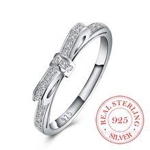 Bague en Argent Sterling 925 de haute qualité pour femmes, exquise, nœud papillon, cristal Cz Infinity, 925