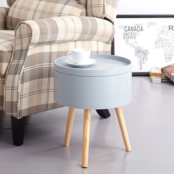PananaStorage Round Table Livingroom Bedroom Beside Coffee Table Decor Stand with Round Collecting Sundries Wooden 3 Legs