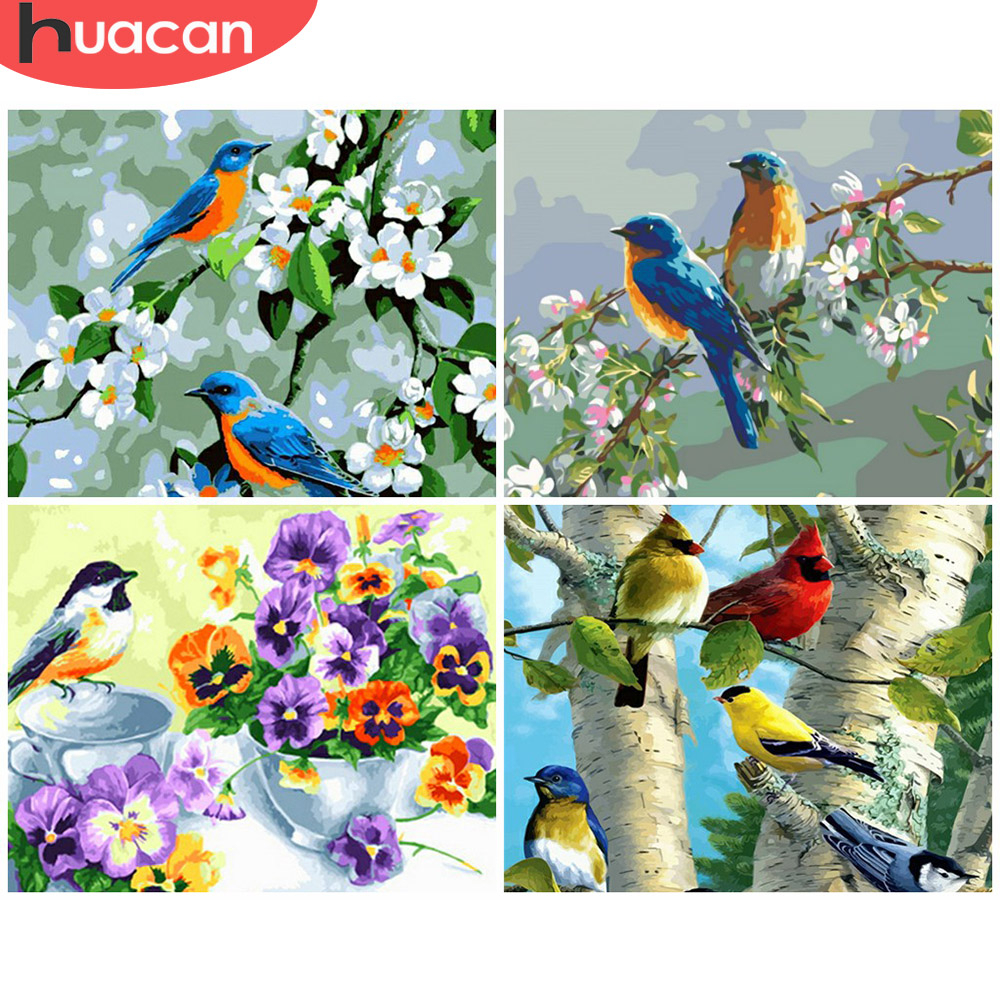 HUACAN Painting By Number Flower Bird Drawing On Canvas HandPainted Art Gift DIY Coloring By Number Animal Kits Home Decor