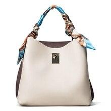 Luxury Silk Belt Bucket Women Shoulder Bag Elegant Panelled PU Handbag Gorgeous Lady Tote
