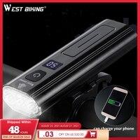 WEST RADFAHREN 5200mAh 1200LM Bike Licht 3 LED Batterie Display USB Aufladbare Scheinwerfer Wasserdicht Radfahren Front Lampe Power Bank
