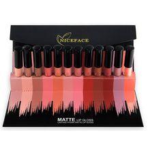 12Pcs/Set Moisturizer Matte Liquid Lipstick Lips Gloss Nude Matte Lipstick