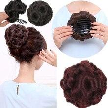 XINRAN вьющиеся волосы шиньон с зажимом в пучок волос синтетические волосы девять цветов шиньон пончик для волос клип в хвост наращивание для ...