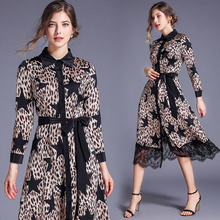 Banulin Autumn Winter Women Retro Long Sleeve Lace Patchwork Dress 2019 Fashion Star Leopard Print Slim Midi Shirt