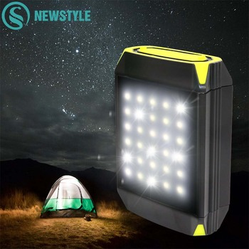 Flasher Mobile Power Bank Flashlight USB Port Camping Tent Light Outdoor Portable Hanging Solar Lamp 30 LEDS Lantern Light