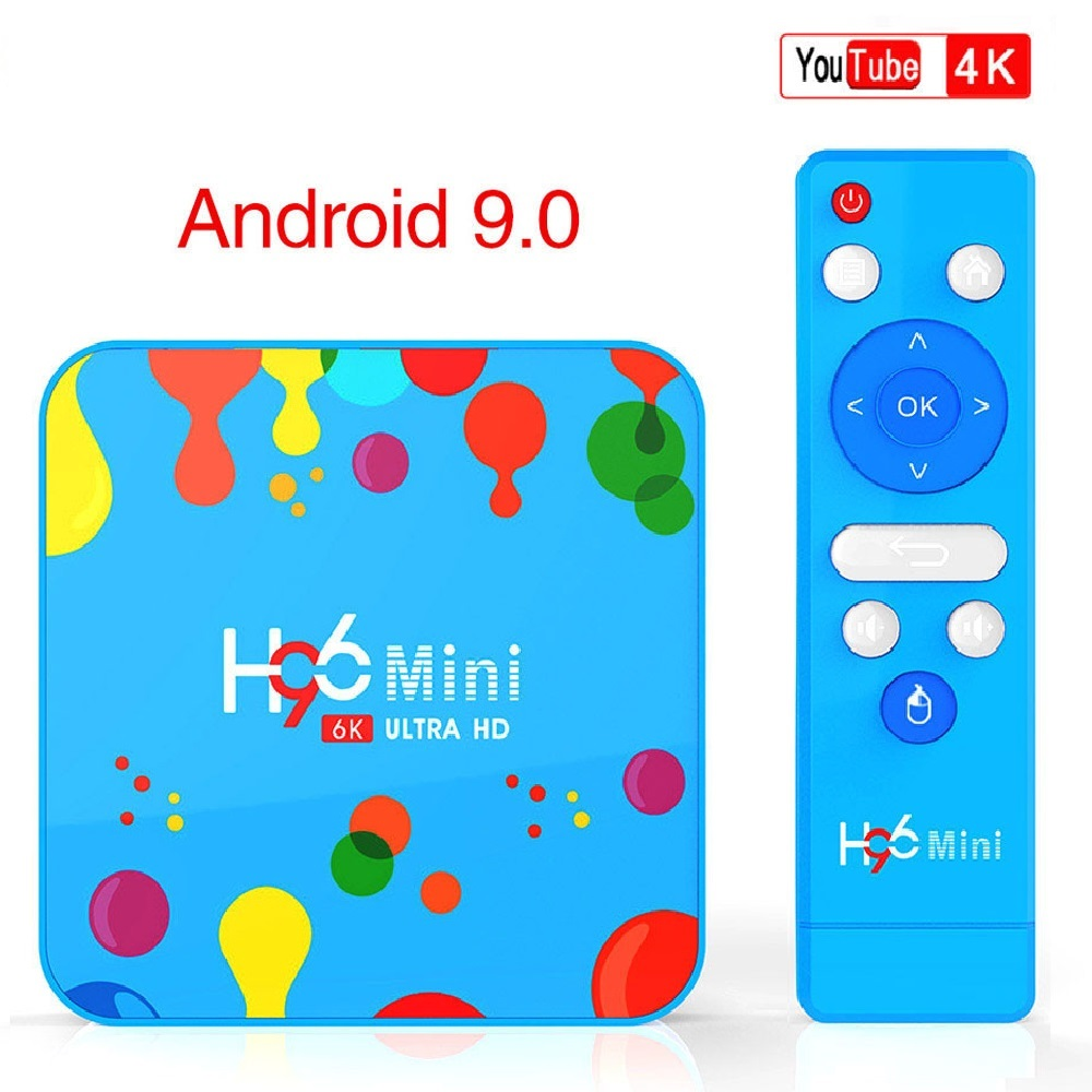 H96 MINI Android 9.0 4GB RAM 128GB ROM TV Box Allwinner H6 Quad Core 6K H.265 Wifi HD Google lecteur décodeur lecteur multimédia