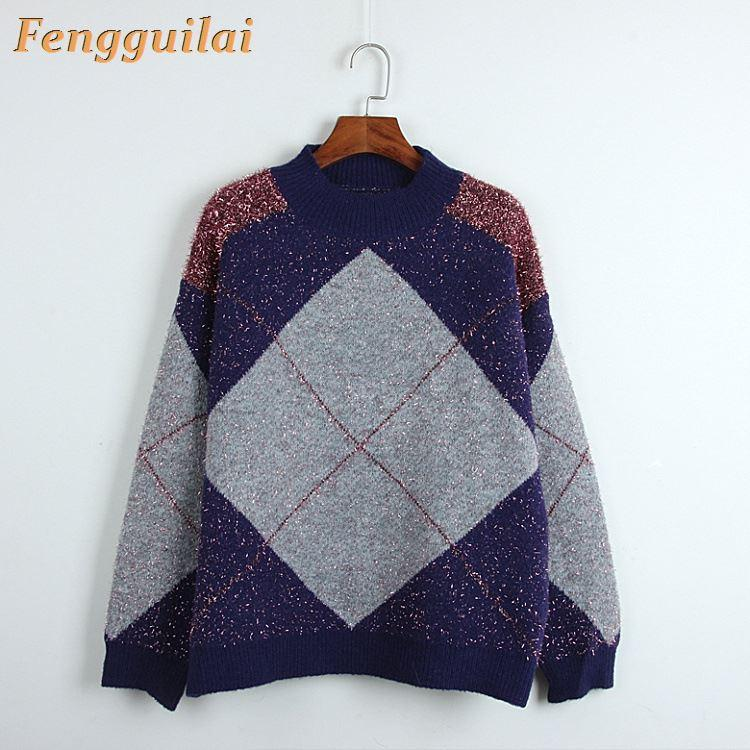 FENGGUILAI Thick Sweater Women's O-Neck Sweater Female 2020 Spring Autumn Loose Pullover Casual Bright Silk Solid Sweaters Femal