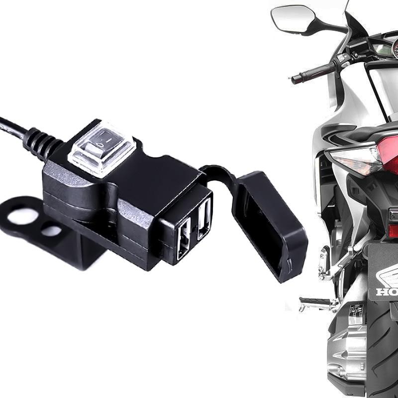 Universal Waterproof 12V Motorcycle Motorbike Handlebar Dual USB Socket Splitter Charger Power Adapter For Mobile Phone