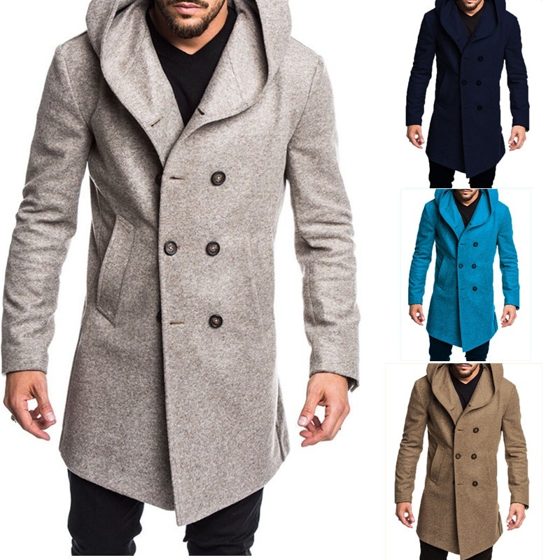 ZOGAA Spring Autumn Men's Woolen Blends Warm Casual Hooded Coat Double-breasted Casual Slim Solid Overcoats Men Long Trench Coat