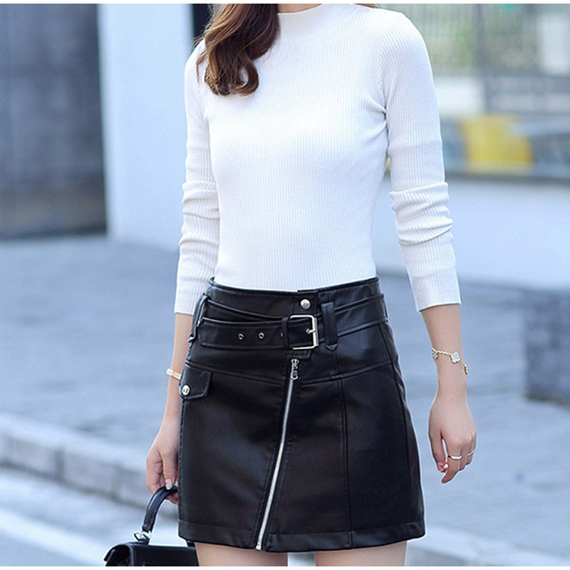 Leather High Waist Vintage A-Line Office Solid Mini Skirt 2