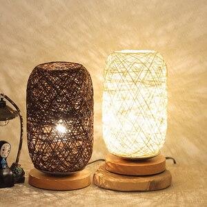 Image 5 - الخشب الروطان خيوط كرات إضاءة الجدول مصباح غرفة ديكور فني المنزل مكتب الخفيفة
