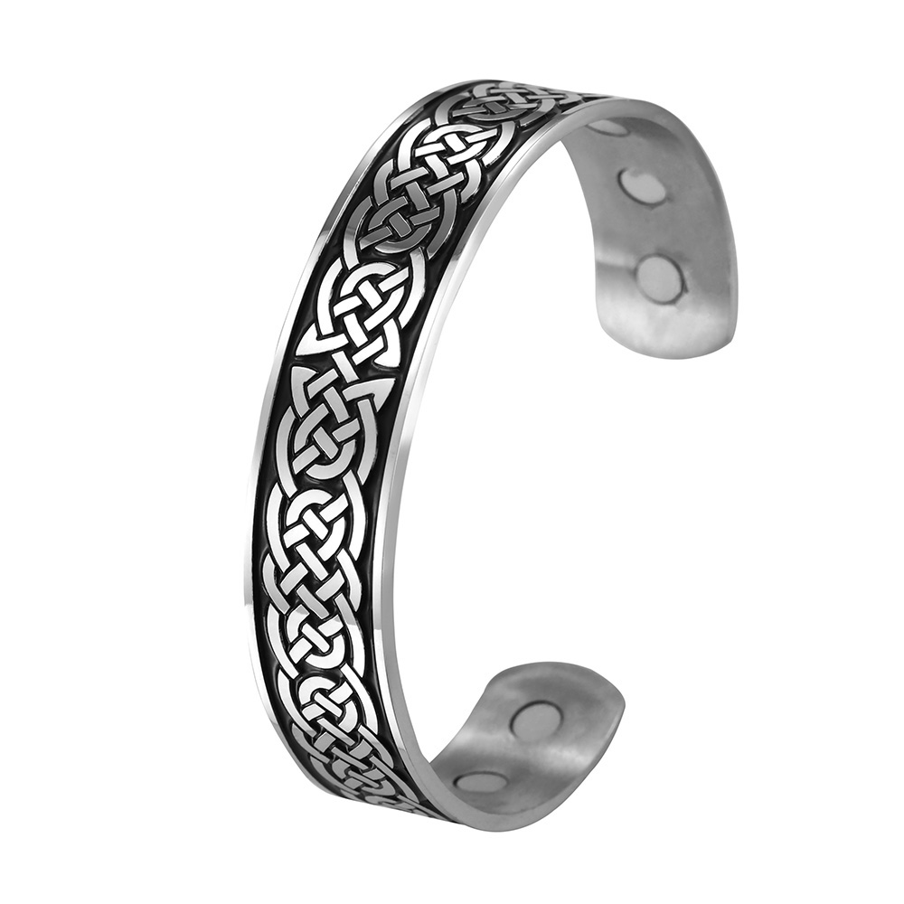 fishhook Eternal Celtic Knot Symbol Stainless Steel Health Care Magnetic Bangle Bracelet