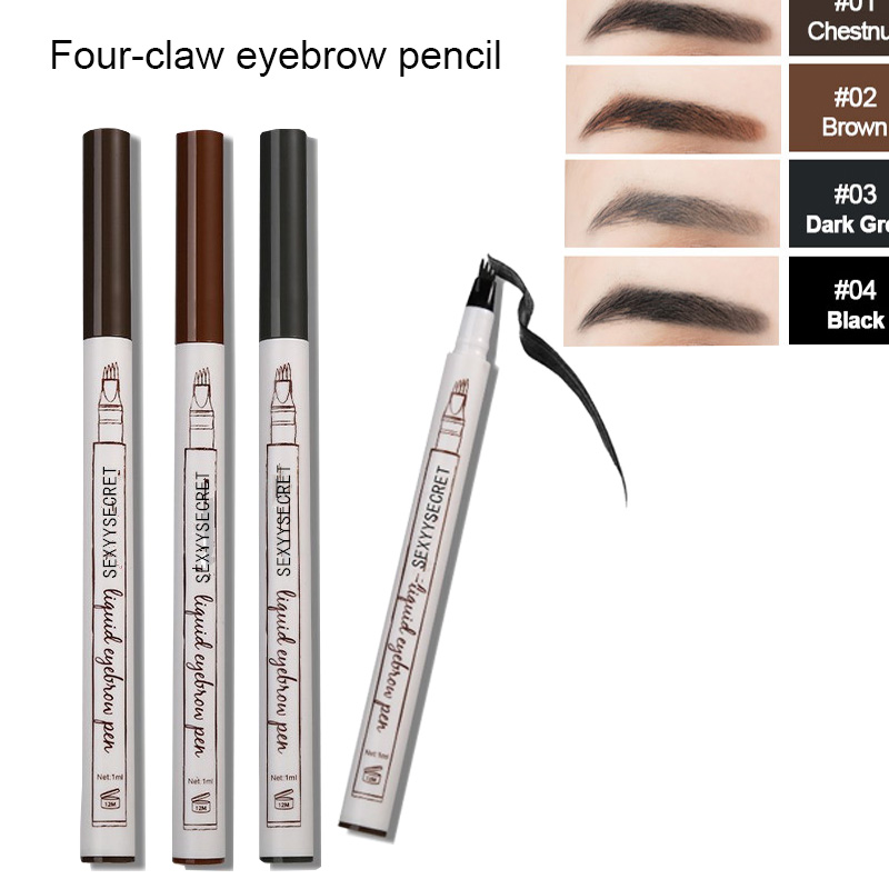 FourClaw Eye Makeup Eyebrow Pen Waterproof Fork Tip Eyebrow  Pencil Long Lasting Professional Fine Sketch Liquid Eye Brow Pencil