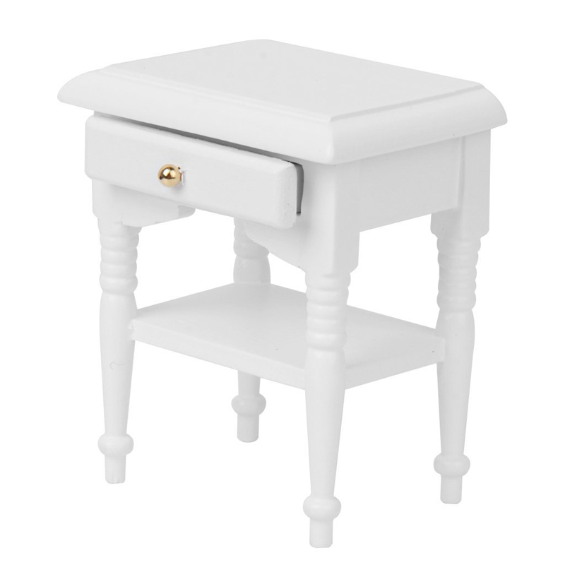 1/12 2x Doll Bed Cabinet Miniature Models Furniture Home Decoration White Wood