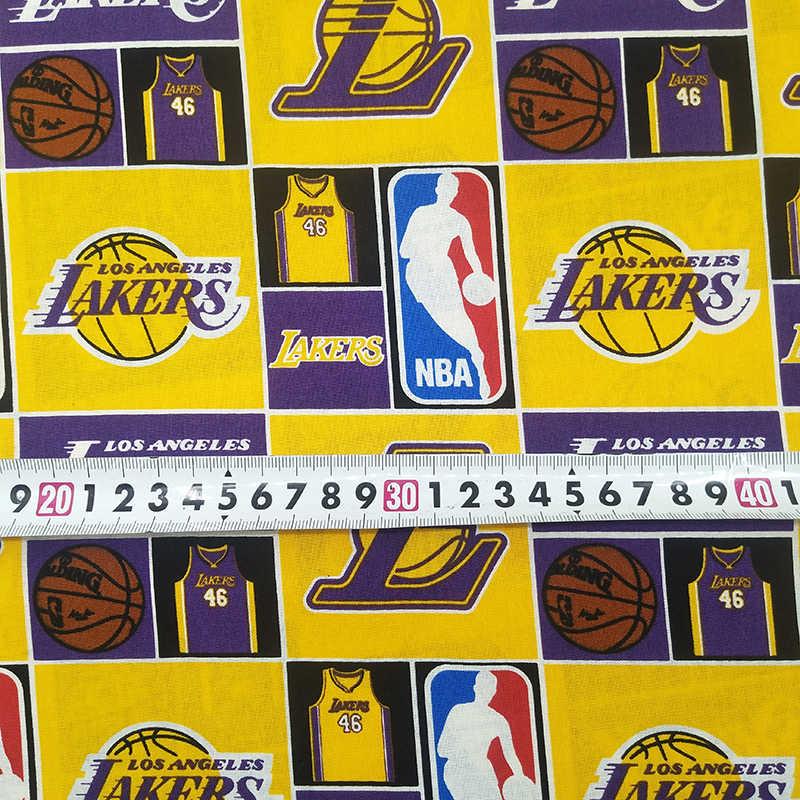 Новый Лейкерс баскетбольная футболка ткань тканая хлопковая ткань полотняного для детей, ткань Лейкерс Печатных Лоскутное шитье DIY для мальчиков Костюмы