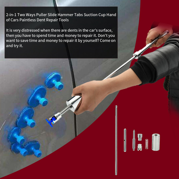 2-in-1 Two Ways Puller Slide Hammer Tabs Suction Cup Hand of Cars Paintless Dent Repair Tools