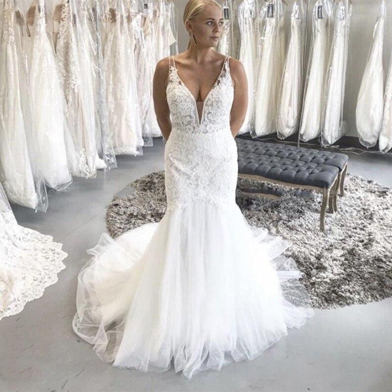 Mermaid Wedding Dresses 2020 V-Neck Lace Appliques Backless Wedding Gowns Custom Made Elegant Bride Dress Vestido De Novia